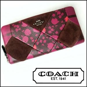 Coach Large Pink Leather Patch Accordion Wallet